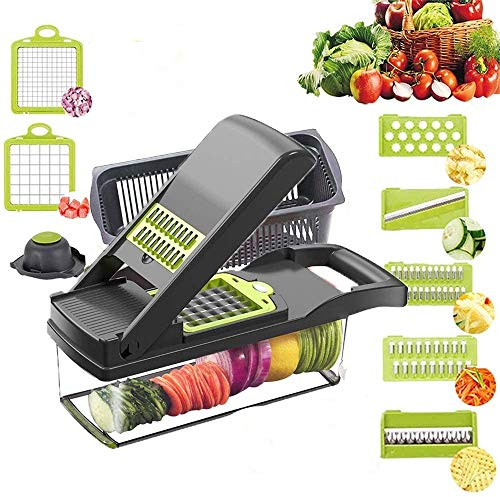 Vegetable Chopper Slicer, Food Chopper D L D Onion Dicer Veggie Slicer Cutter with Multi-Functional Interchangeable Blades Cheese Grater for Garlic Carrot Potato Tomato Fruit Salad