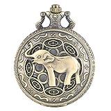 YJRIC Reloj de Bolsillo 3D Lindo Nariz Larga Elefante Figura Retro Bronce Hueco Collar Cuarzo Reloj de Bolsillo Moda Colgante Relojes para Hombres Mujeres niños