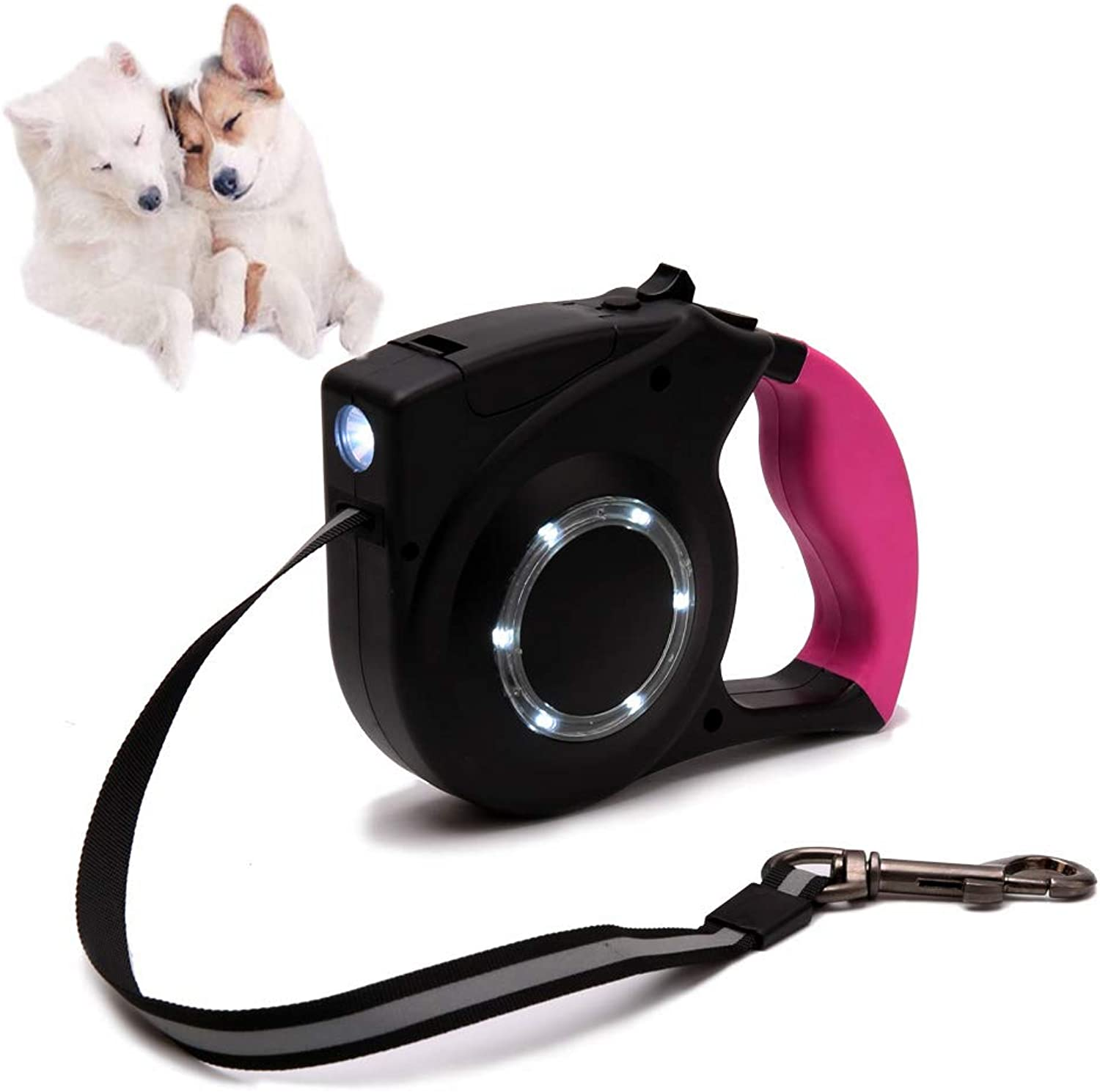 Retractable Dog Leash Set with LED Flashlight  4 Meters Long Tape Leash  for Dogs and Puppies Walking, Tangle Free (Pink)