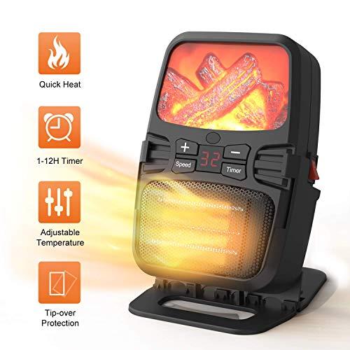 Racoaimtt Elektrische verwarming, 1000 W, keramiek, mini-verwarming, thermostaat, elektrische verwarming met timer, ventilatorkachel voor stopcontact