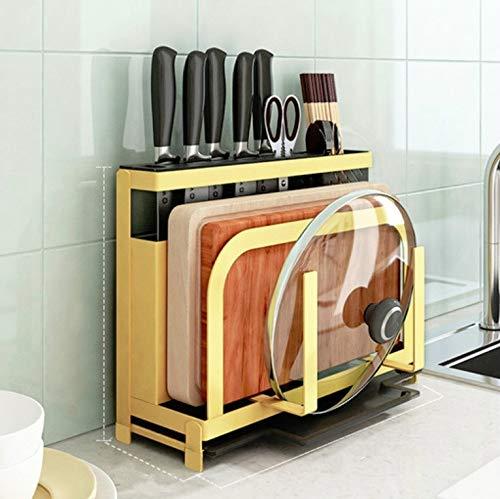 GanFan Tamaño: 33,2 x 11,4 x 25 cm, estante de cocina, tabla de cortar, tapa de olla, almacenamiento de vajilla, soporte multifuncional para cuchillos (color amarillo)