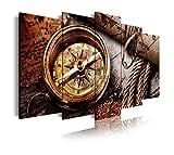 DekoArte 296 - Cuadros Modernos Impresión de Imagen Artística Digitalizada | Lienzo Decorativo Para Tu Salón o Dormitorio | Estilo Nautico Cartas de Navegación y Brújula Antigua | 5 Piezas 150x80cm