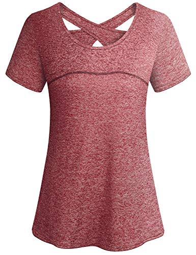 Yoga Outfit Women,Cucuchy Fitness Workout Tops Casual Cool Running Shirt Short Sleeve Breathable Training Exercise Sport Wear Petite Flowy Softball Golf Volleyball Base Layer Active Gym Tshirts Red M