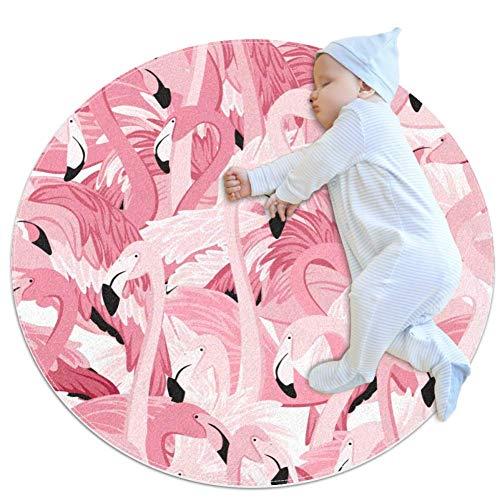 Alfombra de espuma con patrón de flamenco, estilo Art Deco, antideslizante, para sala de estar, dormitorio, estudio, sala de juegos, alfombra súper suave de 3.28 pies de diámetro