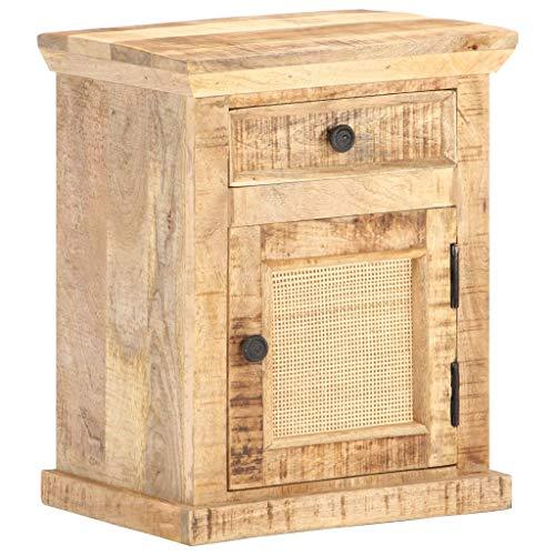 vidaXL Mangoholz Massiv Nachttisch mit 1 Schublade 1 Fach Nachtschrank Nachtkonsole Nachtkommode Schlafzimmer Kommode Schrank 40x30x50cm Naturgeflecht