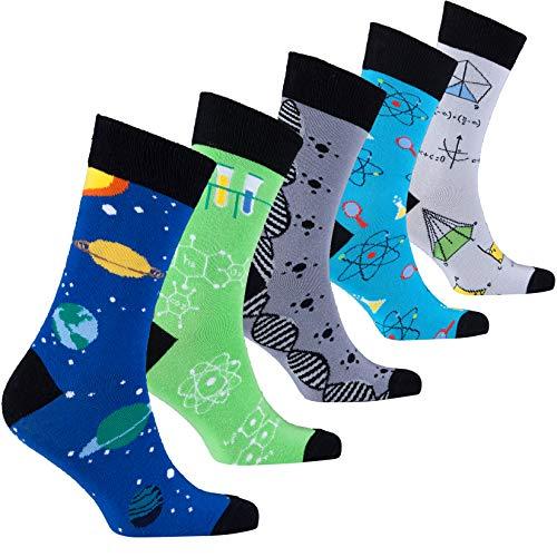 Socks n Socks-Men's 5-pair Luxury Cotton Science Funny Cool Socks Gift Box