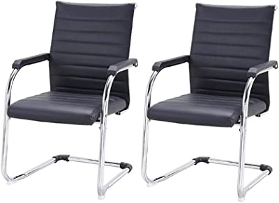 Chairs CJC Set of 2 Leather Thick Foam, Upholstered Seat, Chrome Steel Tube, Dining Drawing Room Kitchen