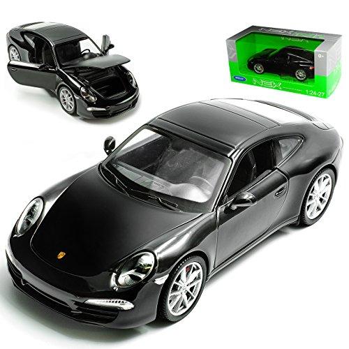 Welly Porsche 911 991 Carrera S Coupe Schwarz Ab 2012 1/24 Modell Auto mit individiuellem Wunschkennzeichen