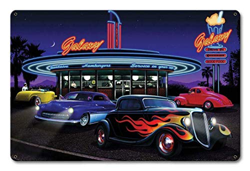Tin Sign Vintage Chic Art Decoration Poster Classic Rat Hot Rod Route 66 Galaxy Diner for Store Bar Home Cafe Farm Garage or Club 12' X 8'