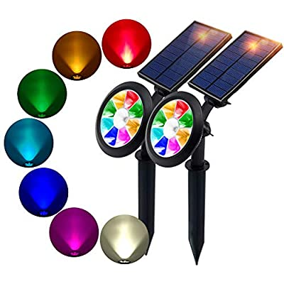 BOHON Solar Lights Outdoor - Ultra Bright, Waterproof, 9 LEDs Multi Color Spot Light with Auto On/Off, Solar Garden Light for Landscape Lighting Yard Patio Pathway (Changing & Fixed Color)