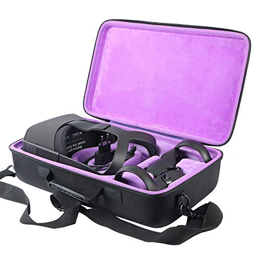 Khanka Hard Travel Carrying Case Replacement for Oculus Quest 2 Virtual Reality VR Gaming & Accessories (Inside Purple)
