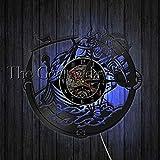 WTTA Amuleto nórdico Awe Casco protección símbolo Reloj de Pared Reloj de Vinilo Vintage brújula vikinga brújula Pared Art Deco-with_LED_Light