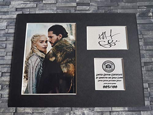 Kit Harington and Emilia Clarke - Jon Snow and Daenerys Targaryen - Game of Thrones - Signiertes Autogramm Display montiert und bereit zum Einrahmen