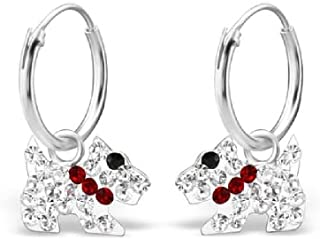 Boucles d/'oreilles argentées botte rouge 22x17 mm