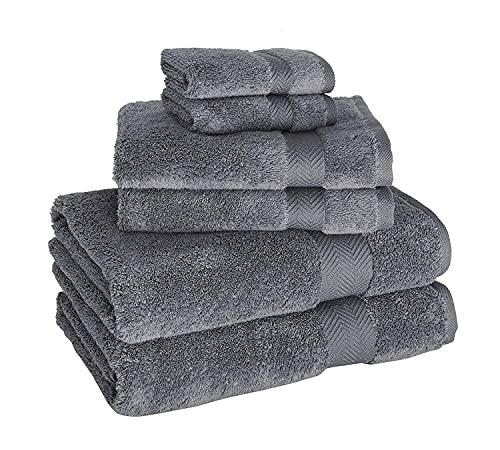 Set of Six Premium Becci Classic Turkish Towels, 2 of Each, 30x54 Bath, 16x27 Hand, 12x12 Washcloth (Grey)