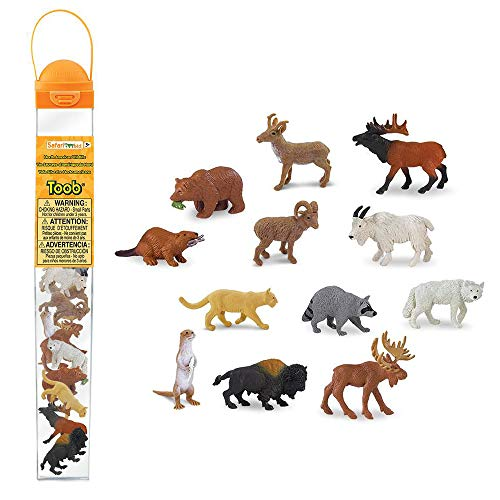 Safari Ltd. Wild Safari North American Wildlife TOOB With 12 Favorite Animal Toy Figurines
