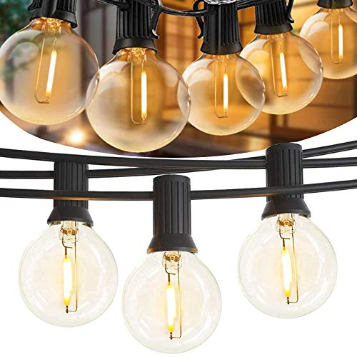 String Lights Outdoor, 35FT Patio String Light with 25+1 Pcs E12 G40 LED Bulbs,2700K Warm Glow, UL Listed IP44 Waterproof Hanging Lights String for Outside Backyard Balcony Porch Bistro Party Decor