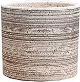 Qiutianchen Maceta de cerámica con bandeja de plástico para plantas, cuenco para plantas, macetas de cerámica para interiores y exteriores, color negro, tamaño mediano)