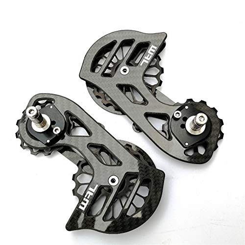 17T de Fibra de Carbono Que Lleva la Bici Bicicleta de cerámica Polea Sistema de Rueda de Cambios Traseros Guía de Rueda for Shimano R7000 (Color : Black)