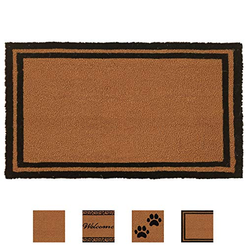 Gorilla Grip Premium Durable Coir Door Mat, 30x18, Thick Heavy Duty Coco Doormat for Indoor Outdoor, Easy Clean, Low Maintenance, Low-Profile Boardered Mats for Entry, High Traffic Areas, Classic
