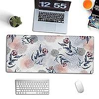 マウスパッド かわいいフローラルプリントマウスパッド、大型拡張ゲーミングキーボードマウスパッド、耐久性のあるステッチエッジ、ゲーミングサーフェス/オフィス向けに設計された大きなデスクマウスマット A2