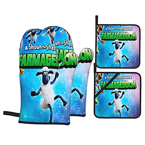 Large Puzzle Sean The Sheep ugnshandskar paket med 4 svarta - värmebeständiga bra grepp silikon bomull kviltade bekväma köksvantar för bakning, matlagning och grillning