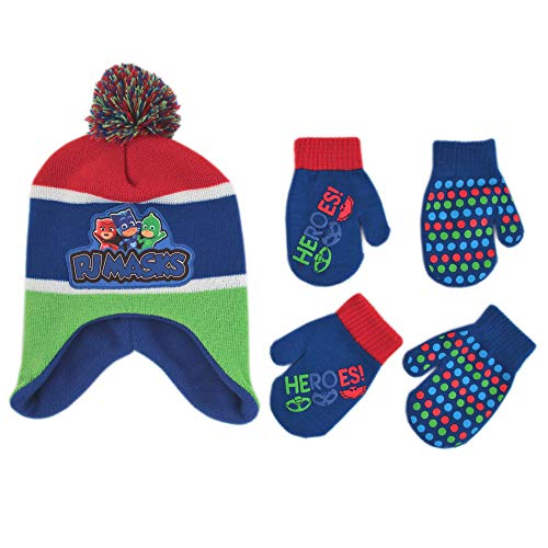 PJ Masks Winter Hat and 2 Pair of Gloves or Mittens Set (Age 2-7)