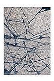 Arte Espina Alfombra Damasco 200 gris y azul 80 x 150 cm