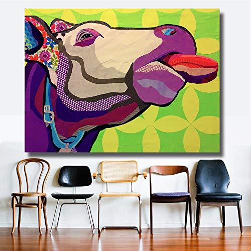 N\A Arte De Pared De Lienzo Linda Cabeza de Toro Carteles y Cuadros de Pared para la decoración de la Sala de Estar decoración del hogar-Sin marco60x80cm