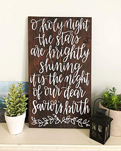 SIGNS 50¡Á30 cm O Holy Night Christmas Decor Christmas Carol Lyrics - Letras para decoración navideña (12 x 20 pulgadas)