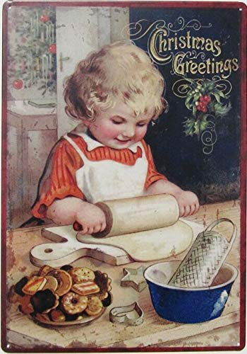 New Vintage Retro Metal Tin Sign Christmas Greetings Little Girl Baking Cookies Garage Home Kitchen Bar Pub Hotel Wall Decor Signs 16x12Inch