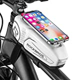 ROCKBROS Top Tube Bike Phone Bag Bicycle Front Frame Bag with Phone Mount PC Cycling Pouch Pack Bike Accessories Storage Case Adjustable Phone Holder Compatible with iPhone 11 12Pro XR 6.5'