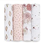 aden + anais Swaddle Blanket, Boutique Muslin Blankets for Girls & Boys, Baby Receiving Swaddles, Ideal Newborn & Infant Swaddling Set, Perfect Shower Gifts, 4 Pack, Dahlias