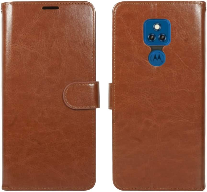 ZASE Moto G Play 2021 Wallet Phone Case Professional Protective Pouch Slim Folio PU Leather Flip Cover Magnetic Closure w/Kickstand Card Pocket Strap for Motorola G Play 2021 6.5-inch (Luxury Brown)
