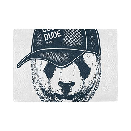 Placemats Set of 6, Heat Insulation Washable Place Mats, Panda Hipster Boy Furry Art 18 X 12 inches Kitchen Table Mats Placemat for Dining Table