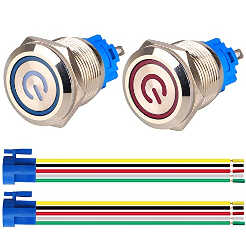 GUUZI 2pcs Interruptor de Botón Pulsador Autobloqueo 1NO1NC Acero Inoxidable Impermeable 220V-230V Interruptor LED Iluminado con Enchufe de Cable Adecuado para Orificio de Montaje de 19mm(Azul+Rojo)