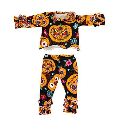hdgcb Halloween Decor Scary Halloween Series Ropa Traje Calabaza Patrón Pantalones para Muñeca de 18 pulgadas