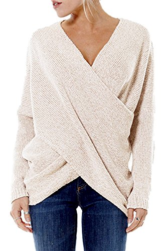 YOINS Damen Pullover Herbst Winter V-Ausschnitt Langarmshirt Batwing Strick Sweater Loose Strick Jumper Shirt Top Cross Front Beige EU46