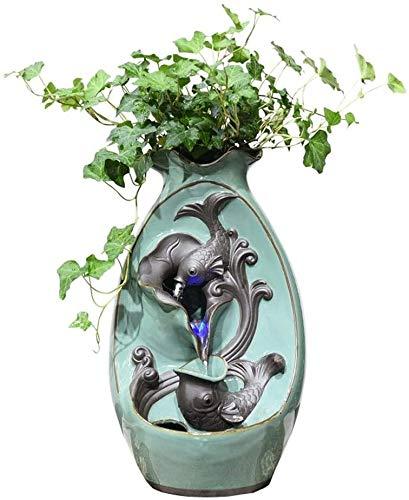 Fuente de interior florero de cerámica de pescado cubierta de mesa Fuente de agua de la cascada de tres niveles Fuente decorativa 15' Alto de escritorio de la tabla Ministerio del Interior dormitorio