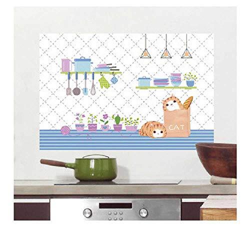 JTXJ Küchenrückwand Kitchen Home Ölbeständige Aufkleber Hochtemperaturbeständige Wandaufkleber Selbstklebende Fliesenaufkleber Wasserdichtes Öl Und Rauch, 90 * 60 cm, B