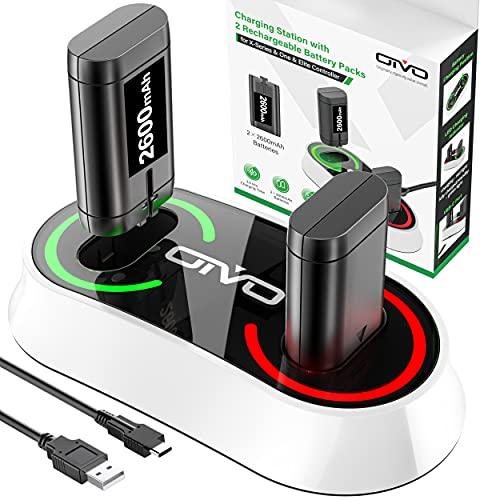 OIVO baterías para Xbox One/Xbox Series X/S Mando con Cargador de batería, 2 de baterías Xbox Recargables de 2600 mAh y Cargador Doble para Xbox Series X | S/Xbox One S | X/Xbox Elite