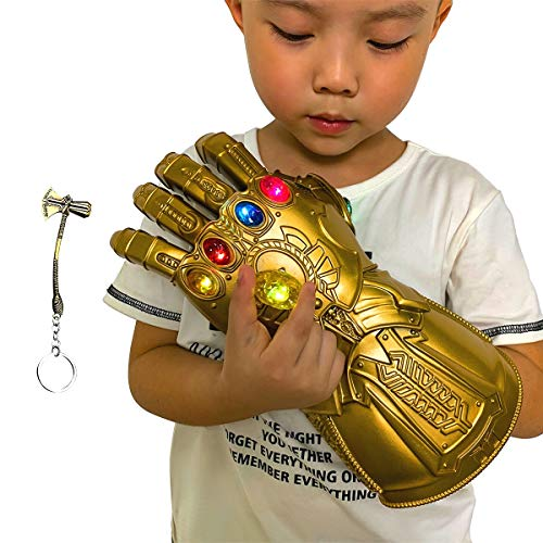 Aokairuisi Infinity Gauntlet Glove for Kids, Iron Man Glove LED Light up with Removable Magnet...