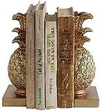 LEXZAYSYS Bookends Pine Bookends Golden Bookswees Decoración de Resina Libros de Parados Conjunto de 2 Matte Gold Weared for Bookrack Escritorio,Libro 4.8X4.3X8.7 Sobridencias Decorativas