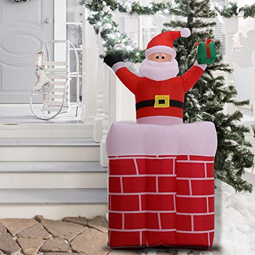 Warmiehomy Inflatable Christmas Santa in the Chimney Decoration Xmas Decorations with LED lights for Outdoor Indoor Commercial Home Garden Yard Holiday Party