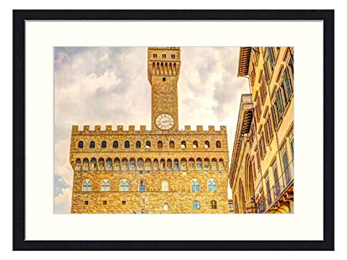OiArt Wall Art Print Wood Framed Home Decor Picture Artwork(24x16 inch) - Florence Italy People Square Plaza Summer City