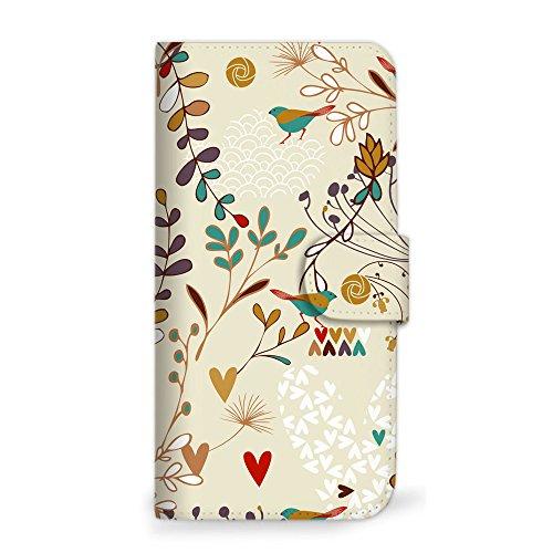 mitas Galaxy Note8 SCV37 ケース 手帳型 バード 鳥 小鳥 とり ベージュ (360) SC-0038-BG/SCV37