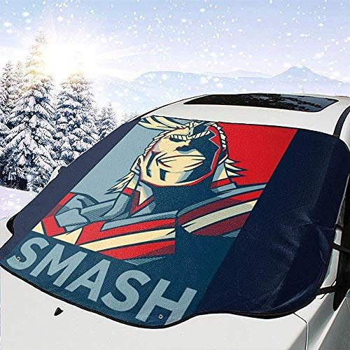 Cubierta de Nieve para Parabrisas My Hero Academia All Might Smash Car,Parasol para Quitar Hielo,Apta para Autos universales,147x118 cm