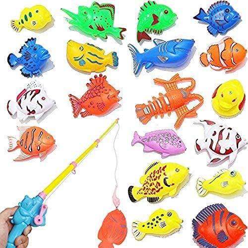 ZAIMA Juguetes de Playa 20 Piezas/Juego bañera para niños Juguete de Pesca magnético Juguete Interactivo para Padres e Hijos Juguete para bebés