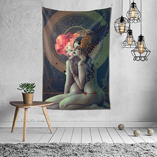NiYoung Hippie Hippy Wall Tapestry Lesbian Girls Pride Art Ombre Tapestry Wall Hanging Throw Tapestries for Bedroom Dorm Accessories Mandala Yoga Mat Rugs Wall Tapestries
