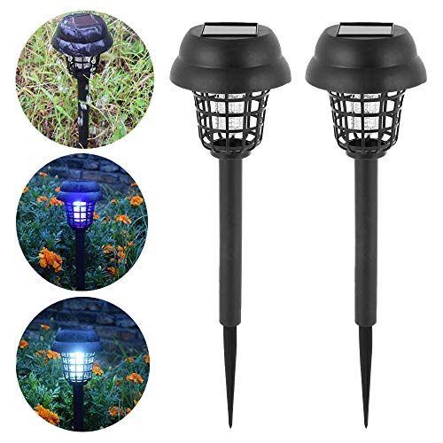 Your's Bath 2 Pack Solar Insect Killer UV Lamp Outdoor Waterproof Mosquito Killer Lamp Portable Mosquito Fly Bug Zapper Killer Traps for Garden Patio Lawn